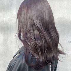 透明感カラー ベージュ 鎖骨ミディアム グレージュ ヘアスタイルや髪型の写真・画像