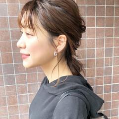 デート セミロング ヘアアレンジ ヘアセット ヘアスタイルや髪型の写真・画像