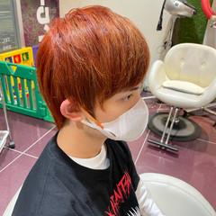 ショート オレンジ ハイライト メンズスタイル ヘアスタイルや髪型の写真・画像
