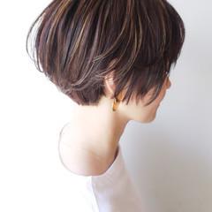 ショート 大人かわいい コンサバ ハイライト ヘアスタイルや髪型の写真・画像