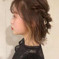 ヘアアレンジ インナーカラー ナチュラル ミディアム ヘアスタイルや髪型の写真・画像
