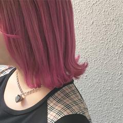 ボブ ピンク フェミニン カラーバター ヘアスタイルや髪型の写真・画像