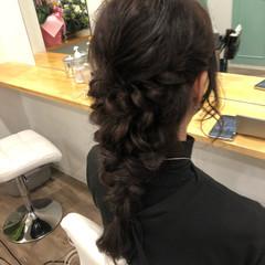 ヘアセット ねじり フェミニン 編み込み ヘアスタイルや髪型の写真・画像