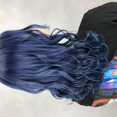 ミディアム モード ネイビーブルー ブルーバイオレット ヘアスタイルや髪型の写真・画像