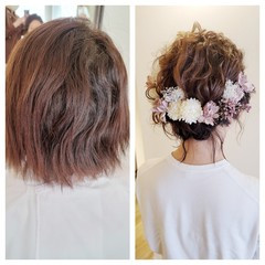ショート 結婚式 フェミニン ヘアアレンジ ヘアスタイルや髪型の写真・画像