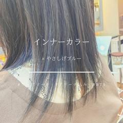 ブルー モード ブルーアッシュ ミディアム ヘアスタイルや髪型の写真・画像