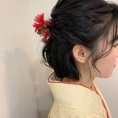 ボブ ヘアアレンジ 卒業式 袴 ヘアスタイルや髪型の写真・画像