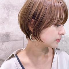 ベージュ マッシュショート ナチュラル ショート ヘアスタイルや髪型の写真・画像