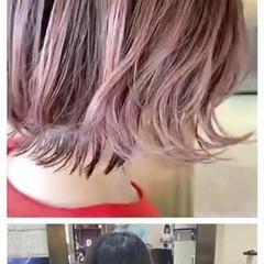 ショートヘア ショートボブ フェミニン ピンク ヘアスタイルや髪型の写真・画像