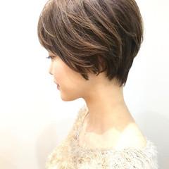 小顔ショート ショートボブ ショート ナチュラル ヘアスタイルや髪型の写真・画像