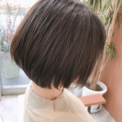 小顔ヘア ベージュカラー ナチュラル ボブ ヘアスタイルや髪型の写真・画像