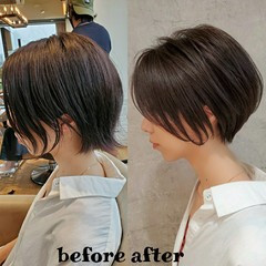 インナーカラー ナチュラル ショートヘア ミニボブ ヘアスタイルや髪型の写真・画像