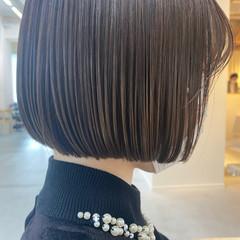 ボブ ナチュラルベージュ ミニボブ トリートメント ヘアスタイルや髪型の写真・画像