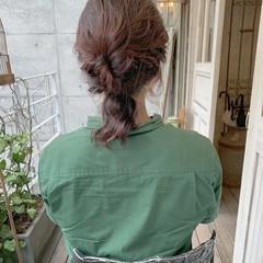 ガーリー ヘアアレンジ ピンクベージュ 簡単ヘアアレンジ ヘアスタイルや髪型の写真・画像