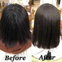 ミディアム 髪質改善トリートメント ハイライト 髪質改善 ヘアスタイルや髪型の写真・画像