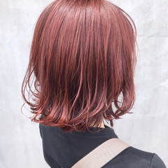 ピンクラベンダー ボブ ラベンダーピンク フェミニン ヘアスタイルや髪型の写真・画像