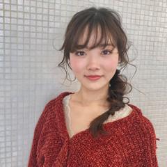 フィッシュボーン デート 編みおろしヘア フェミニン ヘアスタイルや髪型の写真・画像