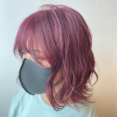ピンクパープル ガーリー ボブ ハイトーンカラー ヘアスタイルや髪型の写真・画像