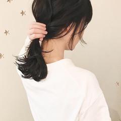 伸ばしかけ アンニュイほつれヘア セミロング ナチュラル ヘアスタイルや髪型の写真・画像