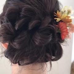 ヘアアレンジ お祭り 涼しげ セミロング ヘアスタイルや髪型の写真・画像