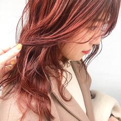 シースルーバング アプリコットオレンジ 韓国ヘア オレンジベージュ ヘアスタイルや髪型の写真・画像