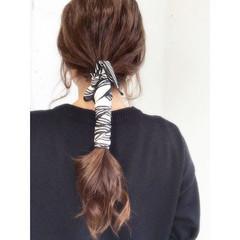 ロング ナチュラル スカーフアレンジ 可愛い ヘアスタイルや髪型の写真・画像