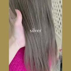シルバー ギャル ナチュラル シルバーグレー ヘアスタイルや髪型の写真・画像
