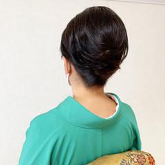 結婚式 留袖 夜会巻 ミディアム ヘアスタイルや髪型の写真・画像