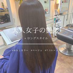 ベージュ サラサラ ブラウンベージュ 美シルエット ヘアスタイルや髪型の写真・画像