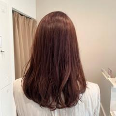 大人かわいい セミロング チェリーピンク ピンクアッシュ ヘアスタイルや髪型の写真・画像