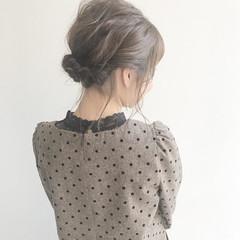 ヘアアレンジ ガーリー サロンモデル ミディアム ヘアスタイルや髪型の写真・画像