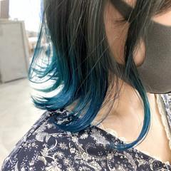 ボブ ターコイズ ターコイズブルー グラデーションカラー ヘアスタイルや髪型の写真・画像