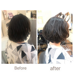 フェミニン  ゆるふわパーマ ショートボブ ヘアスタイルや髪型の写真・画像