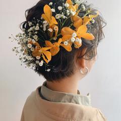 ヘアアレンジ 黒髪 ショート ナチュラル ヘアスタイルや髪型の写真・画像