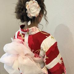 和装 成人式 編み込み ミディアム ヘアスタイルや髪型の写真・画像