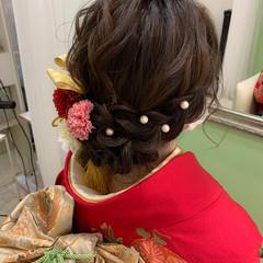 結婚式ヘアアレンジ 卒業式 フェミニン ロング ヘアスタイルや髪型の写真・画像