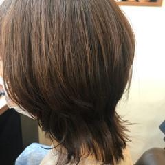 外はね 大人可愛い オレンジブラウン 大人ミディアム ヘアスタイルや髪型の写真・画像