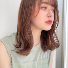 鎖骨ミディアム ミディアム 小顔ヘア 透明感 ヘアスタイルや髪型の写真・画像