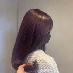 ラベンダーピンク ナチュラル ロング ラベンダーアッシュ ヘアスタイルや髪型の写真・画像