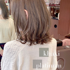 フェミニン 切りっぱなしボブ ミルクティーベージュ ミディアム ヘアスタイルや髪型の写真・画像