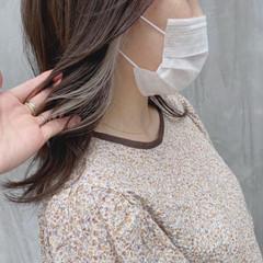 ヘアカラー 韓国ヘア ナチュラル インナーカラー ヘアスタイルや髪型の写真・画像