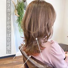 レイヤーロングヘア ミディアム ウルフカット レイヤーヘアー ヘアスタイルや髪型の写真・画像