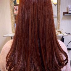ベリーピンク セミロング ピンク エレガント ヘアスタイルや髪型の写真・画像