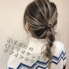 フェミニン アンニュイほつれヘア セミロング バレイヤージュ ヘアスタイルや髪型の写真・画像