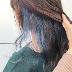 セミロング ストリート インナーカラー ダブルカラー ヘアスタイルや髪型の写真・画像