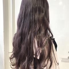 ラベンダーアッシュ ガーリー ラベンダーピンク ミルクティーベージュ ヘアスタイルや髪型の写真・画像