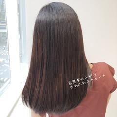 縮毛矯正 髪質改善 髪質改善トリートメント セミロング ヘアスタイルや髪型の写真・画像