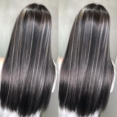 ハイライト 黒髪 外国人風カラー バレイヤージュ ヘアスタイルや髪型の写真・画像