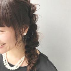 結婚式 デート 編み込み ヘアアレンジ ヘアスタイルや髪型の写真・画像