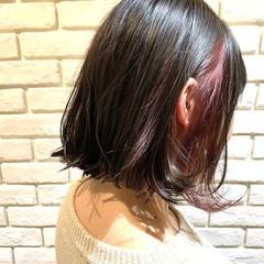インナーカラーレッド ガーリー 大人可愛い チェリーレッド ヘアスタイルや髪型の写真・画像